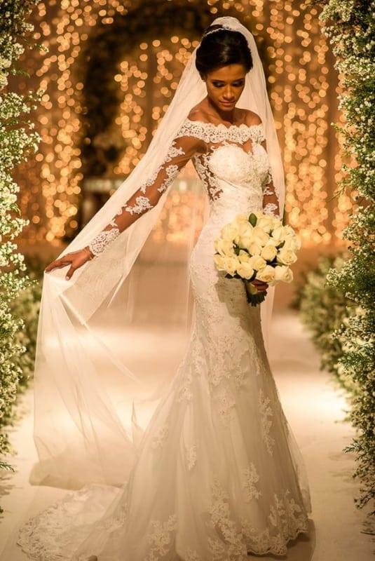 vestido de noiva sereia com véu