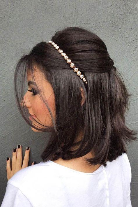 penteado simples para casamento com tiara
