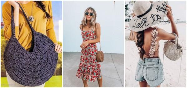 Bolsas redondas de palha e crochê para o verão