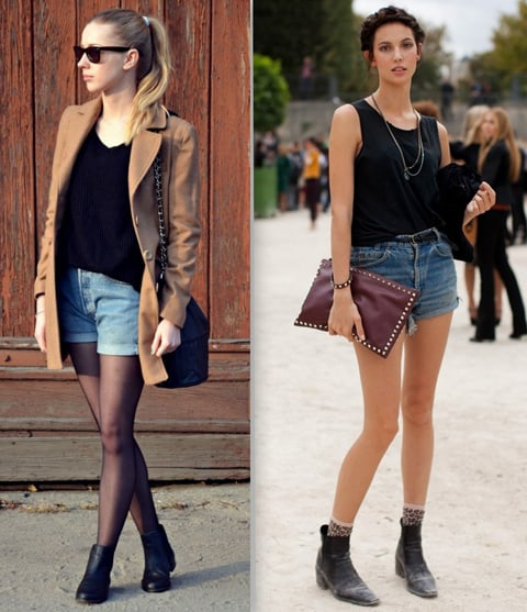 Bota chelsea feminina com short jeans