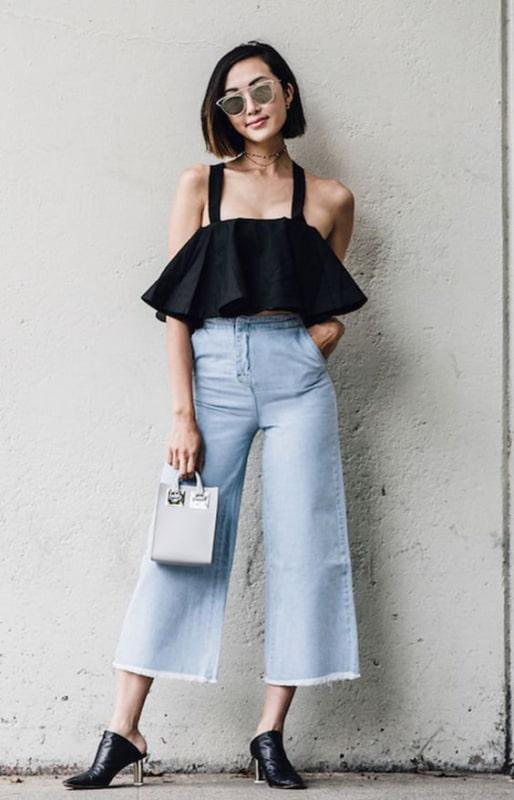 Cropped preto e Pantacourt jeans clarinha