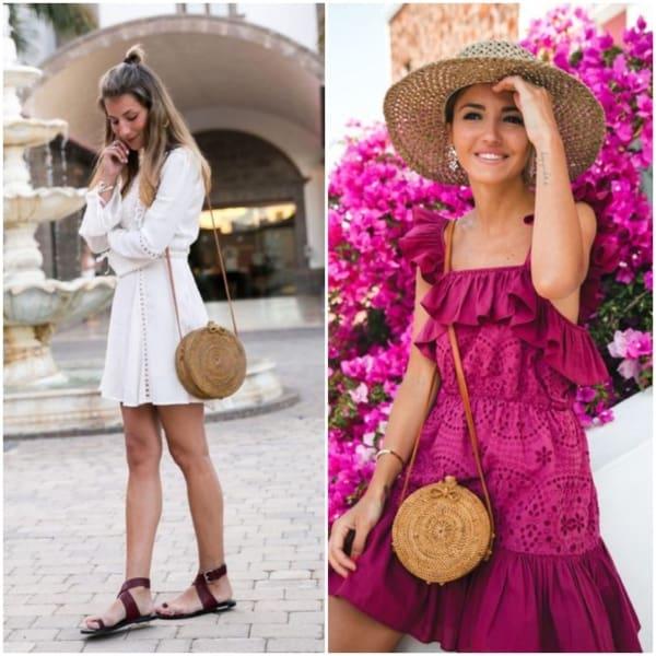 Duas opções de looks com bolsas de palha redonda