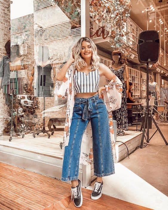 Ideia de look para passeio pantacourt diurno com pantacourt jeans