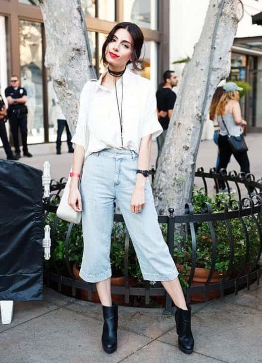 Camisa social bota preta e pantacourt jeans