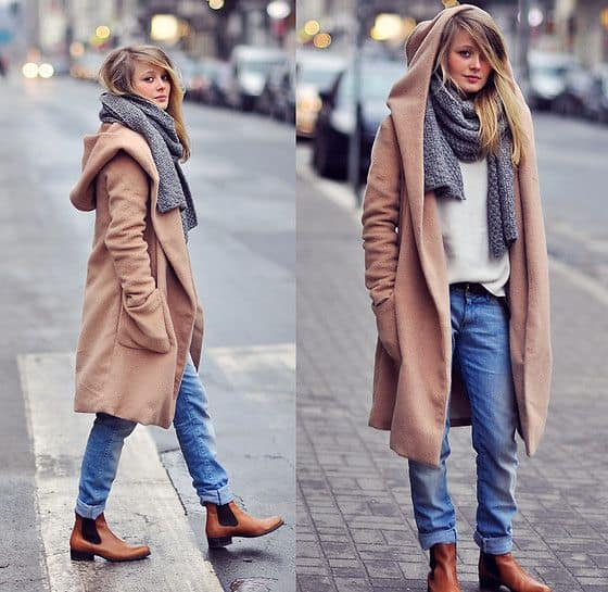 Look de inverno com bota chelsea marrom