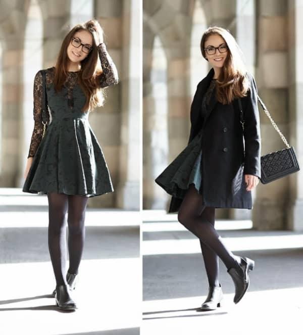 Look de inverno com vestido de bota chelsea
