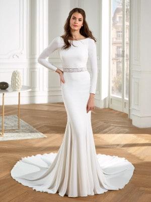 Modelo de vestido de noiva liso sereia