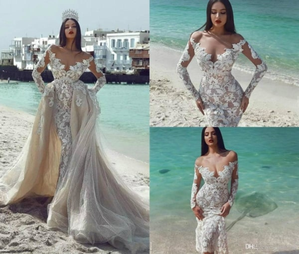 Modelo sexy de vestido sereia de renda