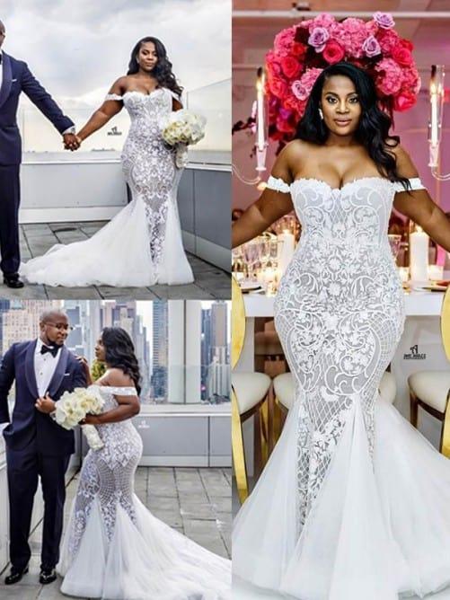 Noiva vestida com modelo sereia
