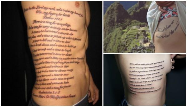 Tatuagem de frases na costela 1