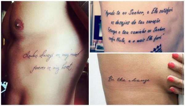 Tatuagem de frases na costela 2