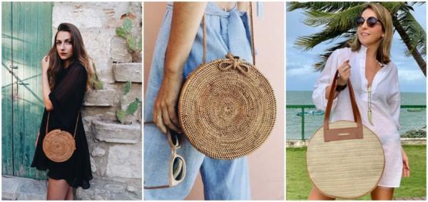 Três modelos de bolsas redondas de palha