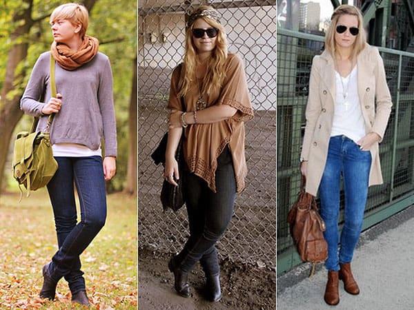 Três tipos de calças jeans com chelsea boots