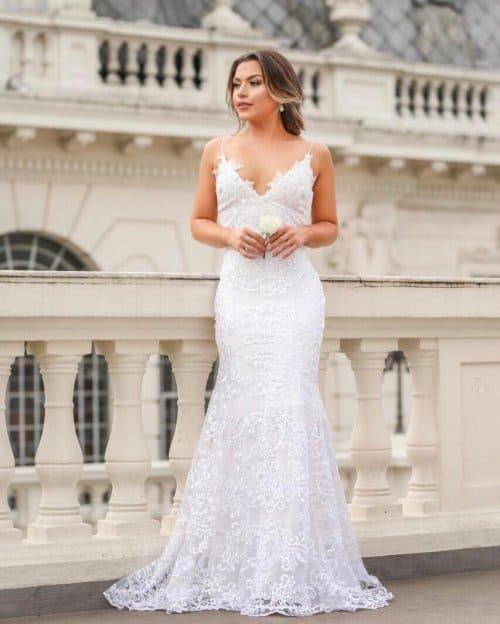 Vestido de noiva de alcinha sereia