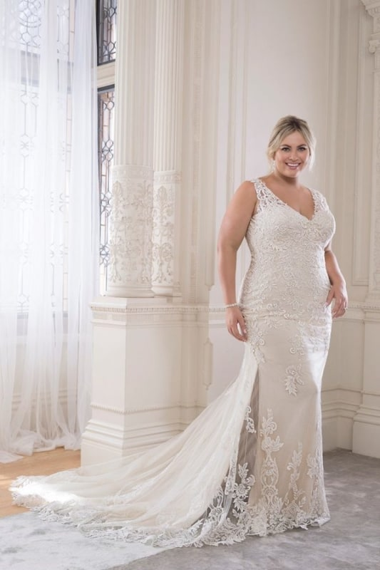 Vestido de noiva plus size sereia off white