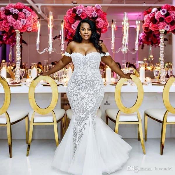 Vestido de noiva plus size sereia sexy de renda