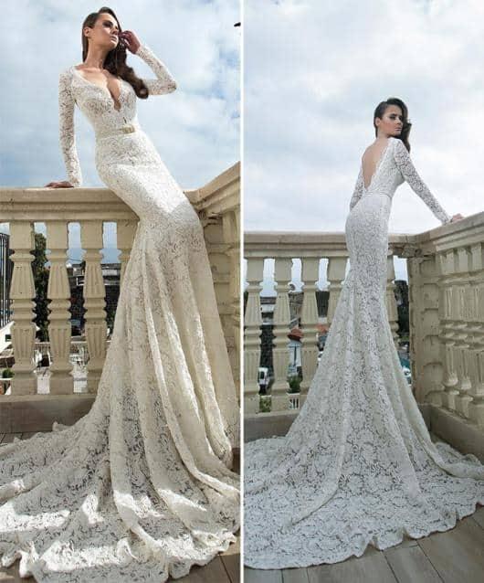 Vestido de noiva rendado sereia com cauda