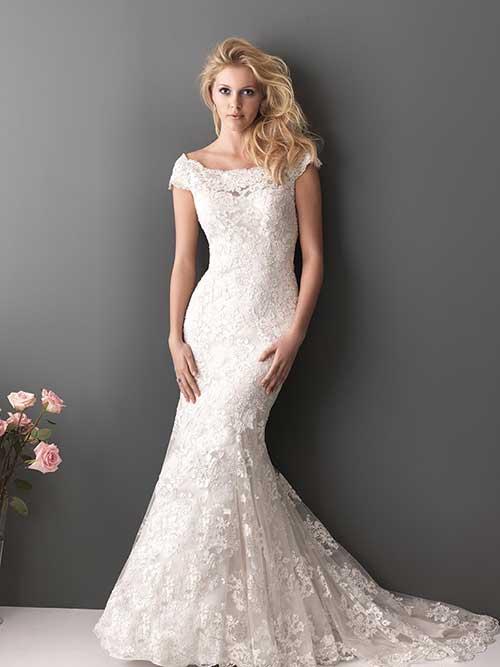 Vestido de noiva rendado sereia ombro a ombro