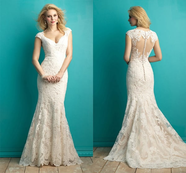 Vestido de noiva rendado sereia