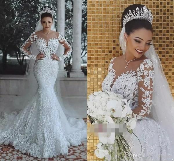Vestido de noiva sereia com manga comprida de renda