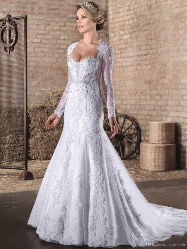 Vestido de noiva sereia com manga comprida