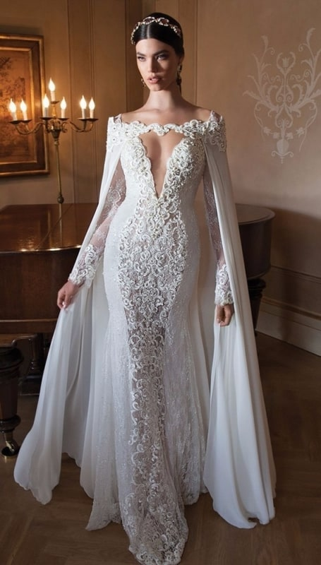 Vestido de noiva sereia de renda com manga comprida