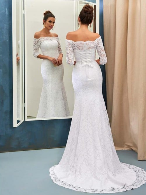 Vestido de noiva sereia de renda