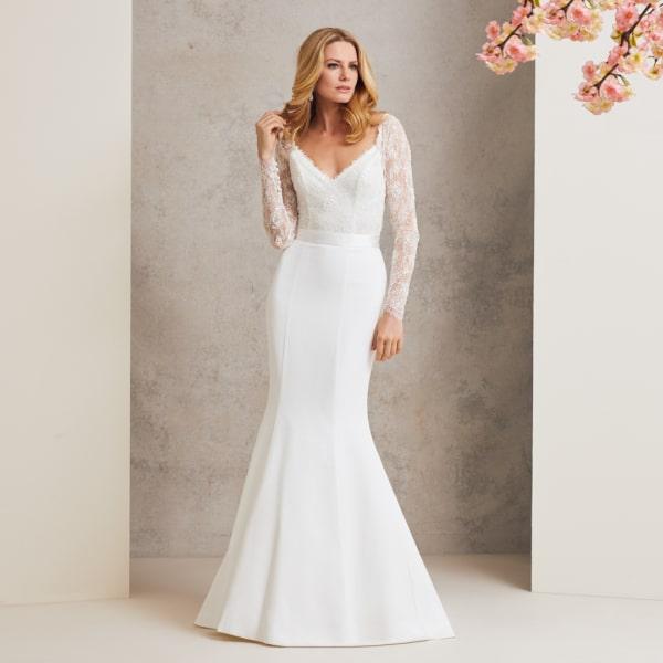 Vestido de noiva sereia elegante e simples