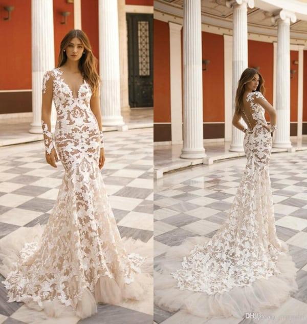 Vestido elegante de noiva estilo sereia