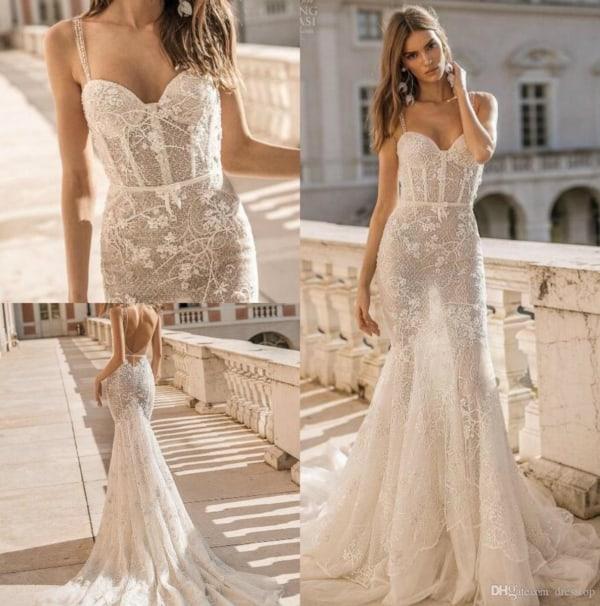 Vestido sensual de noiva sereia