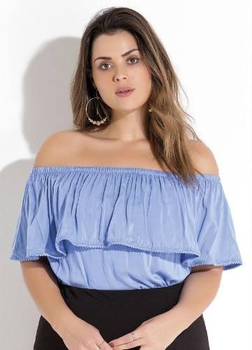 blusa ciganinha plus size azul