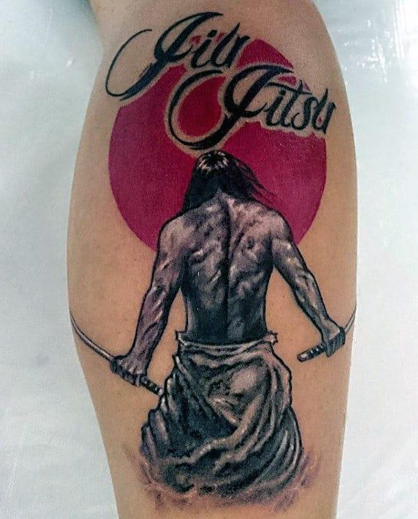 ideia de tatuagem jiu jitsu na perna