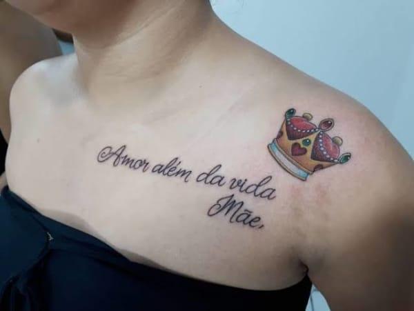 tatuagem mãe amor além da vida com coroa