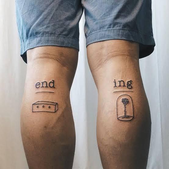 tatuagem na panturrilha masculina escrita
