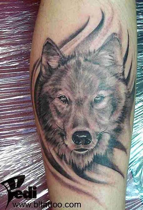 tatuagem na panturrilha masculina lobo