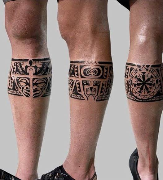 tatuagem na panturrilha masculina tribal