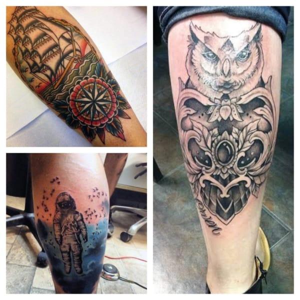 tatuagem na panturrilha masculina