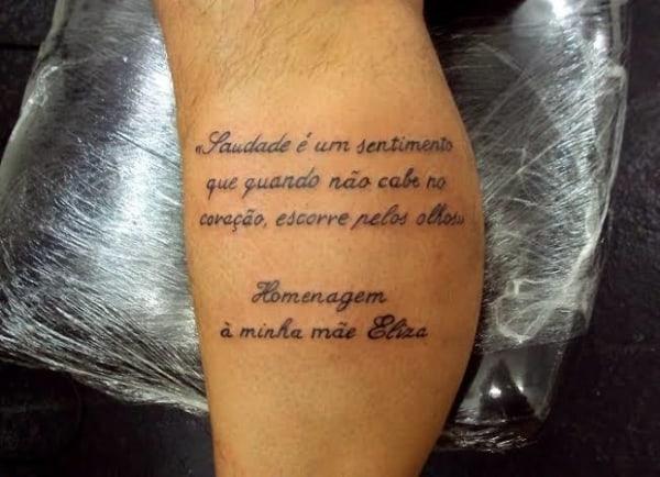 tatuagem na perna para mãe com frase