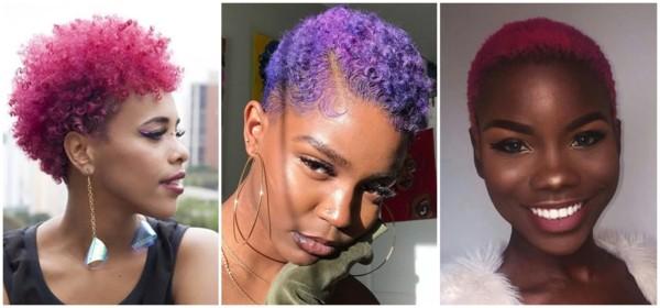cabelo curto crespo colorido feminino