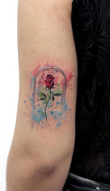 tatuagem de rosa aquarela