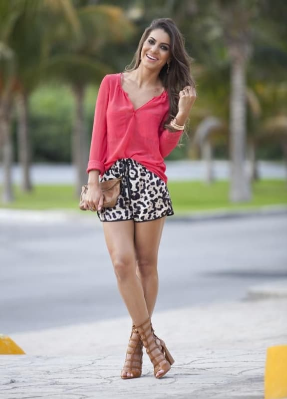 look com short de estampa animal print