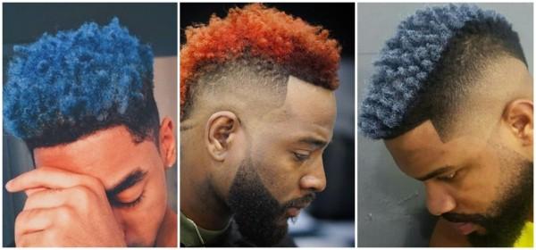 cabelo crespo curto e colorido masculino