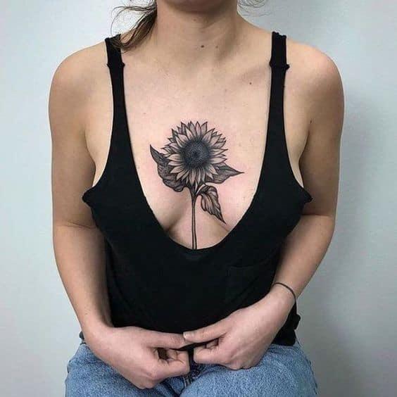 tatuagem grande de girassol