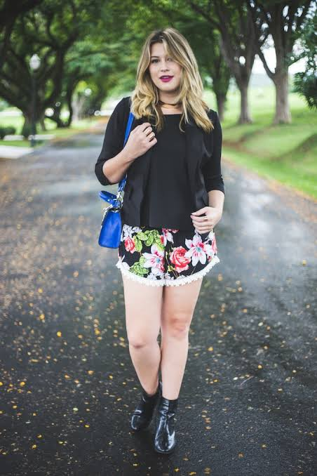 look com short de estampa floral