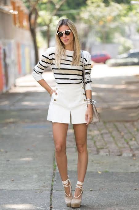 como usar short saia branco