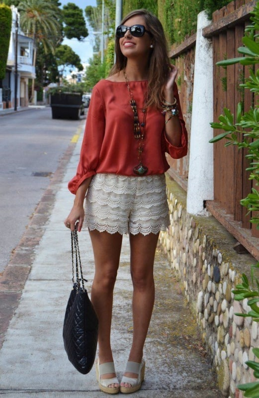 look com modelo de short de renda