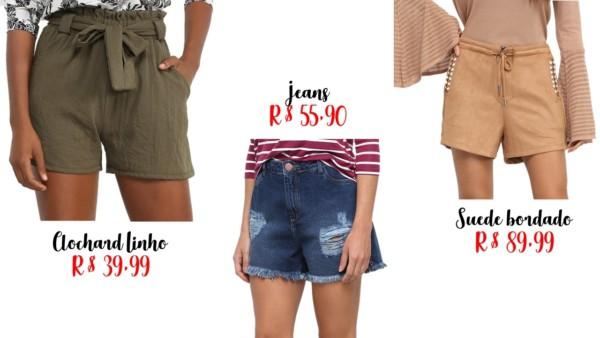 preços e modelos de shorts