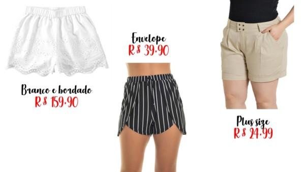 modelos e preços de shorts feminino
