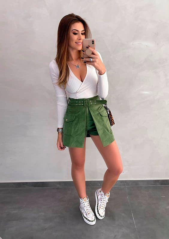 look com short saia verde