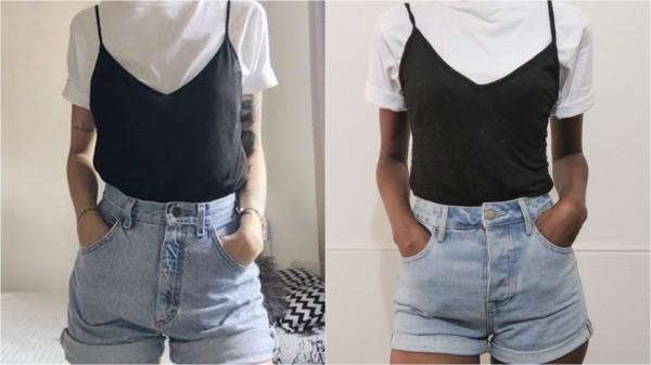 Alcinha em cima de t shirt branca é tendência Tumblr